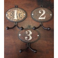 Numbered Double Hooks - Set of Three - Rustic